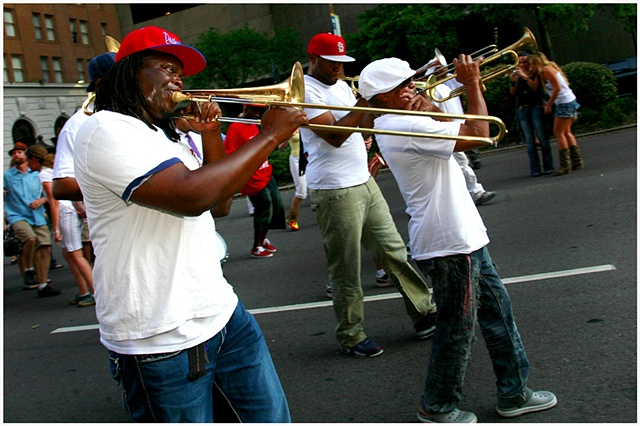 Members of Rebirth Brass Band lead a second line through New Orleans on the 6th Anniversary of Katrina ending with the unveiling of a memorial at the Sartatoga Building.