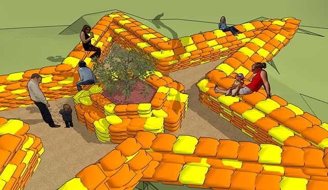 five pointed star colored sandbag bunker park concept by Michael Bernstein