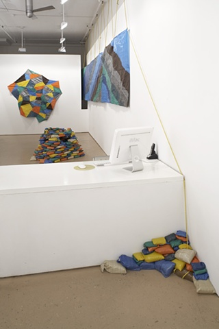"Instllation view ""The Sunny Pessimist Takes Cover From the Imperceptible"" Hudson Franklin Gallery"