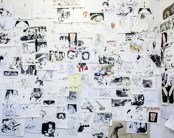 Wall of drawings