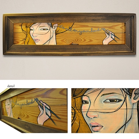 asian girl painted on wood panel acrylic it's all in your head