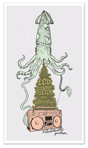 LCD Soundsystem Concert Poster Sleigh Bells Charlottesville