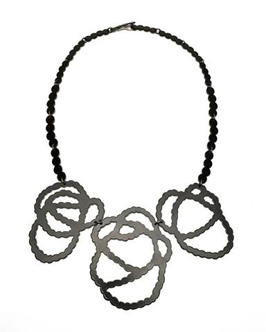 3pc Pearl Strands Neckpiece in Black