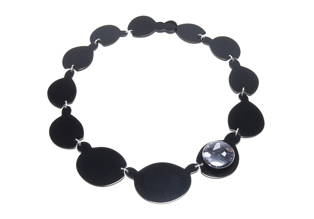 Black on Black Neckpiece with Gemstone Button