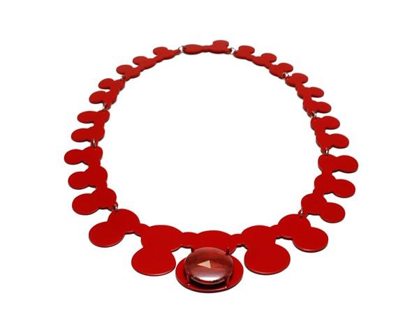 Red on Red Neckpiece with Gemstone Button