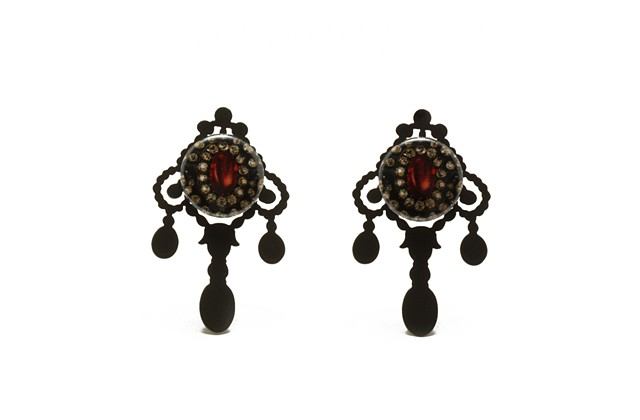Earrings with Gemstone Buttons