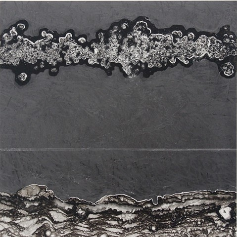 An aerial landscape evaporated ink drawing by Oregon artist Michael Boonstra
