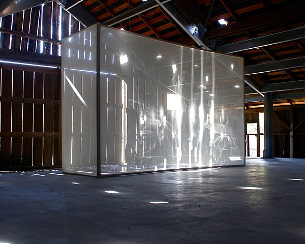 Michael Boonstra installation art using light and scrim at the Djerassi residency.