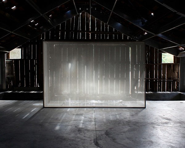 Michael Boonstra installation using light and scrim at the Djerassi residency