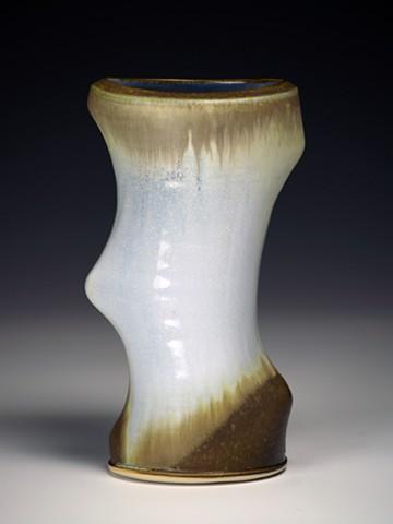 Light Blue/Black Cut Vase
