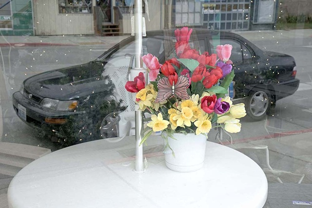 urban, car, automobile, flowers, reflection