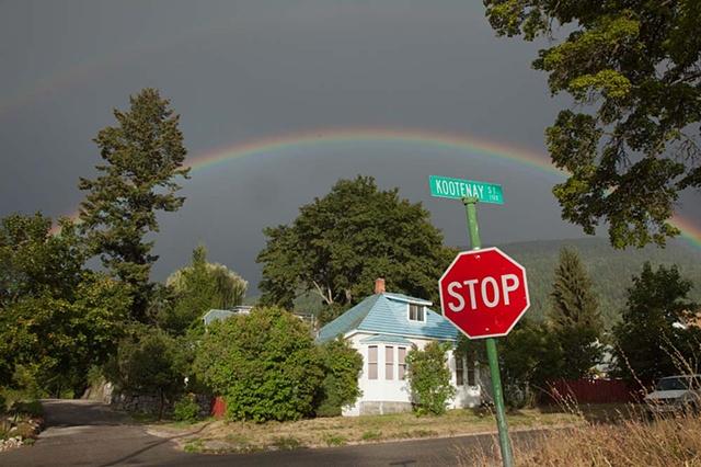 Nelson BC, British Columbia, rural, rainbow, town