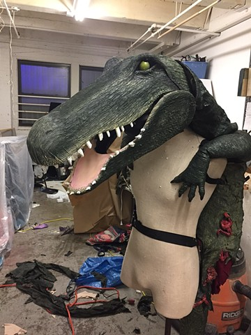 Alligator mask and snapping jaw mechanism designed by Jessica Scott, 2016.