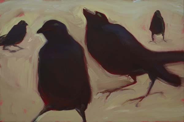 Four black birds