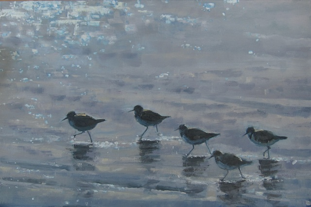 Shorebirds Running On A Sparkling Sea - sold