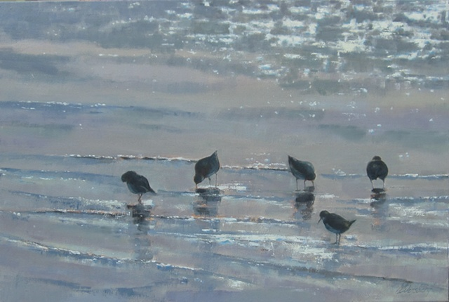 Shore Birds in Sparkling Sea - sold