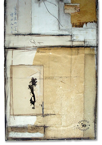 Crystal Neubauer Original Fine Art Collage Mixed Media 12 x 30 Suppose
