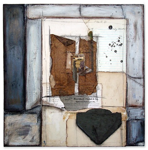 Crystal Neubauer Collage Oil Painting Mixed Media Fine Art from Salvaged
