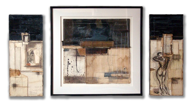 Crystal Neubauer Original Collage Mixed Media  Fine Art 24 x 24 A Clean Slate Series