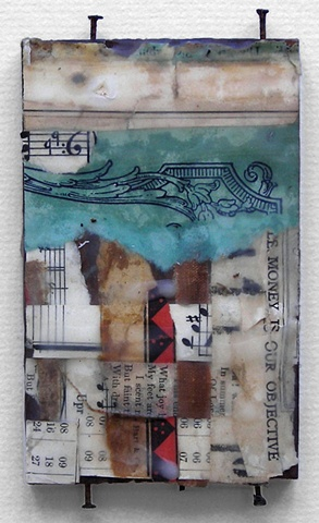 Crystal Neubauer Collage Encaustic Mixed Media Abstract Art Salvaged