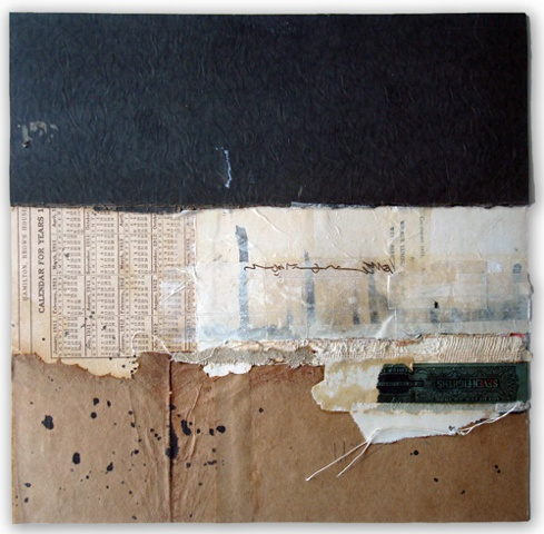 "Crystal Neubauer Original Fine Art Collage Matted Mixed Media 10"" x 10"" in 20"" square frame"