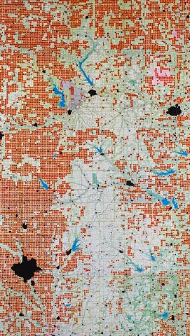 Flint Hills - square miles with roads on four sides (red), towns (black).