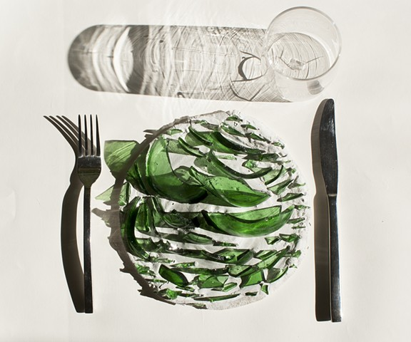 Dinner Setting With Green Glass