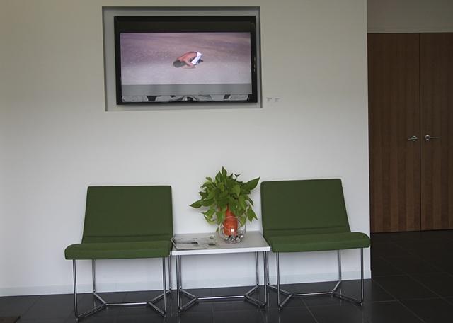 Installation view, Takeshi Moro,  Aldrin, HD Video, 5 min.