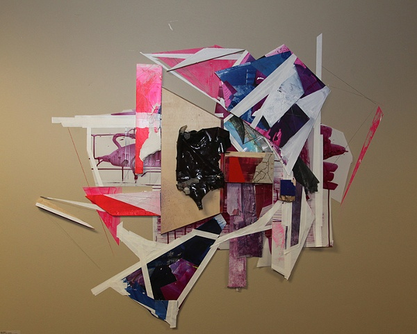 Mara Baker, Nothing is lost: (varosha), Wood, tile, tape, vinyl, studio residues, sharpie, everyday pen and acrylic on wall and paper. Variable Wall Drawing.  2011.