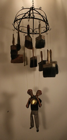 marionette ceramic sculpture mixed media two-headed