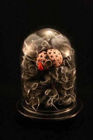 fly, ceramic, mixed media, sculpture, bell jar