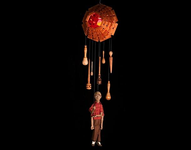 marionette ceramic sculpture mixed media chandelier tattoos