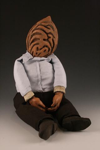 Dolls, ceramic sculpture mixed media peach pit