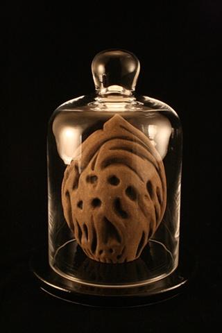 peach pit, ceramic, sculpture, bell jar