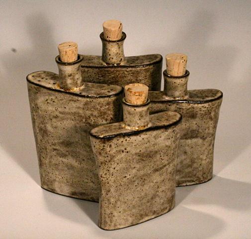 Ceramic flask black clay whisky steam punk