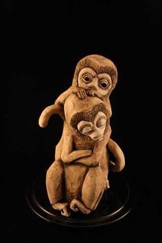 monkeys, ceramic, bell jar, sculpture
