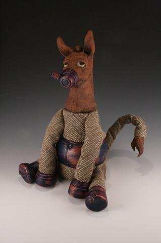 Ceramic, sculpture, dolls, donkey, mixed media, cyborg