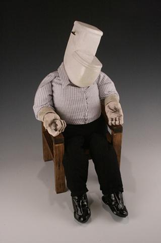 ceramic, sculpture, dolls, toilet, mixed media, john, head