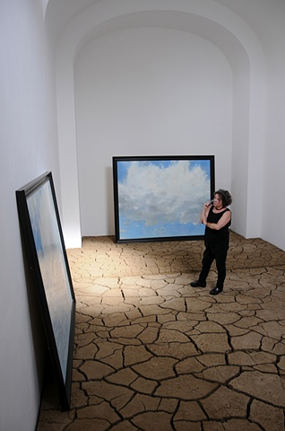 Three Clouds In Waiting Painting Installation