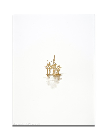 "Contemporary art oil rigs series ""Jack-up Rig, Gulf of Mexico, USA"" by Caroline Bullock"