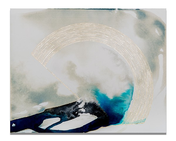 """Wave"" by fine artist Caroline Bullock. Cyanotype and ink on paper. 2013"