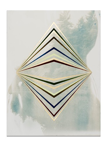 Caroline Bullock Studio, cyanotype, gouache, and gold leaf ink on paper, contemporary art, works on paper