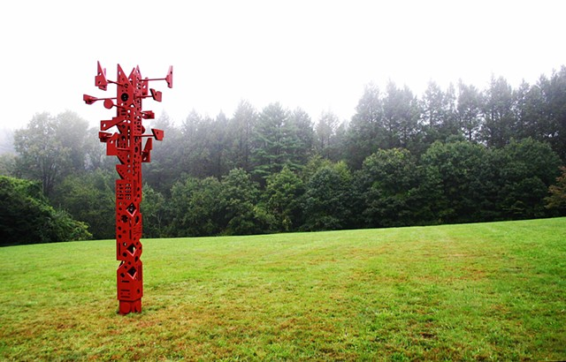 Signpost is totemic sculpture implying order and functionality while ultimately providing none.