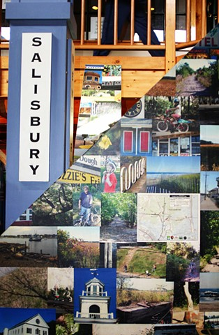 Rover On Display in The Tannery, Newburyport, MA  Detail of Collage Elements