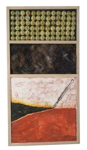 encaustic & mixed media box with hair - Carrie Ann Plank