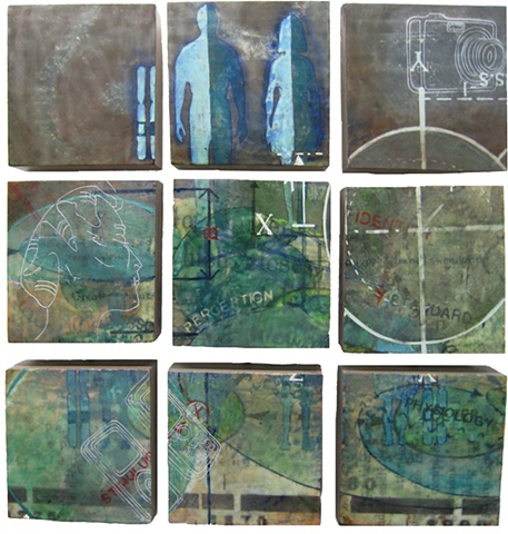 nine panel encaustic installation