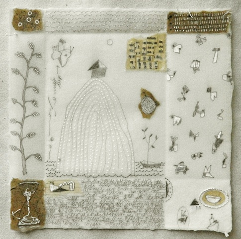 Notes From The Ancestors no.4 mixed media drawing on handmade paper