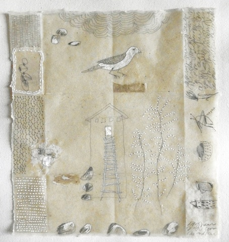 mixed media drawing dipped in beeswax on handmade paper