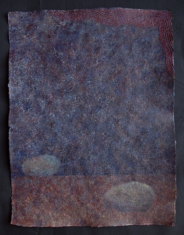 Rocks no.7 Acrylic and Hand Embroidery on Handmade Paper (Sticks and Stones Series)