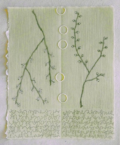 mixed media drawing with embroidery on green Kitakata paper dipped in beeswax